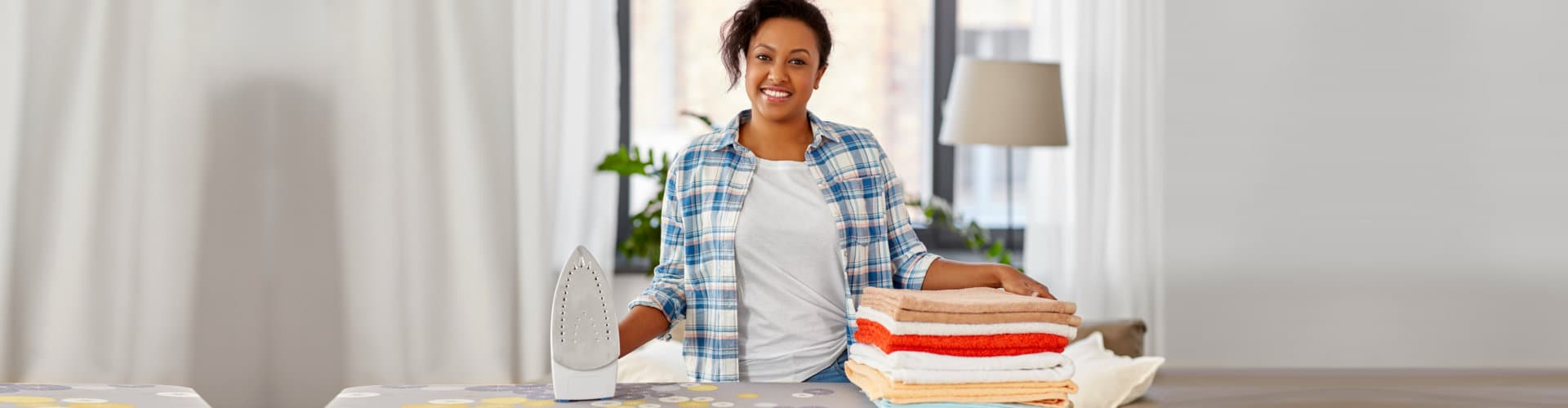 young lady doing houseworks